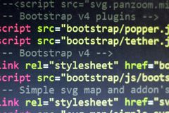 HTML code. Computer programming source code. Abstract screen of web developer. Digital technology modern background. Shallow depth. Of field. Code is created by Stock Images