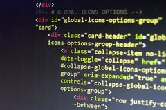 HTML code. Computer programming source code. Abstract screen of web developer. Digital technology modern background. Shallow depth. Of field. Code is created by Royalty Free Stock Images