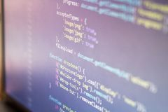 HTML code. Computer programming source code. Abstract screen of web developer. Digital technology modern background. Shallow depth. Of field. Code is created by Royalty Free Stock Photos