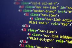 HTML code. Computer programming source code. Abstract screen of web developer. Digital technology modern background. Shallow depth. Of field. Code is created by Royalty Free Stock Photography