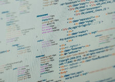 Html code. HTML and CSS code developing screenshot. Abstract web site source listing Royalty Free Stock Images