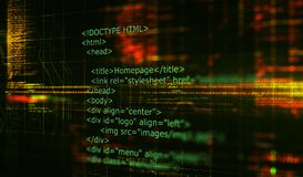 HTML code programming software background. 3D Render. Programming code abstract technology background of software developer and Computer script. 3D Render royalty free stock photography