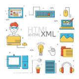 HTML coder icons set Royalty Free Stock Photos