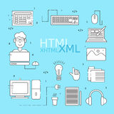 HTML coder icons set Stock Photography
