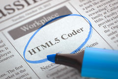 HTML5 Coder Join Our Team. 3D. A Newspaper Column in the Classifieds with the Small Ads of Job Search of HTML5 Coder, Circled with a Blue Marker. Blurred Image royalty free stock images