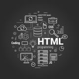 HTML coding linear concept on black Stock Photography