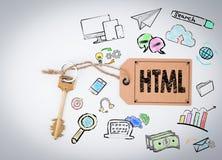HTML-Computer-Kodierung, Website-Konzept Schlüssel und Anmerkung über weißen Hintergrund Stockfotos
