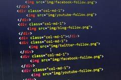 HTML con el código del tirante de compartir los elementos del sitio web para la mayoría de las redes sociales populares Imagen de archivo