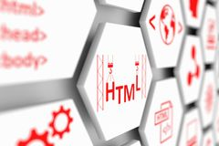 HTML concept. Cell blurred background 3d illustration Stock Photography
