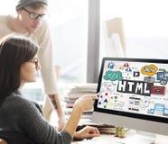 HTML Connectiion Links Digital Communication Concept.  stock photo