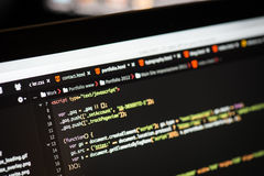 HTML and CSS code on laptop screen. HTML and CSS code developing screenshot Royalty Free Stock Image