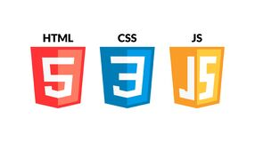 HTML5 CSS3 JS icon set. Web development logo icon set of html, css and javascript, programming symbol