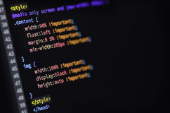 HTML, CSS and media query code Stock Images
