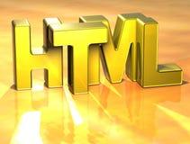 HTML de 3D Word sur le fond jaune Photo stock