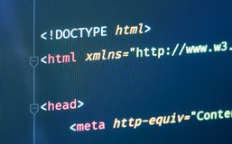 Html document code in text editor close-up on the screen royalty free stock photos