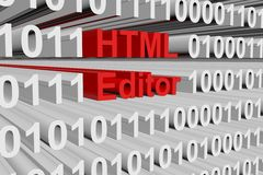 HTML editor. In the form of binary code, 3D illustration Royalty Free Stock Photos