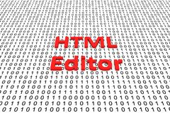 HTML editor. In the form of binary code, 3D illustration Royalty Free Stock Photography