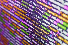 HTML5 in editor for website development. Software source code stock photo