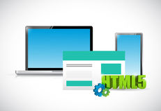 Html5 electronics and browser illustration Stock Images