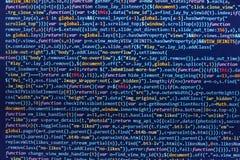 HTML5 en el redactor para el desarrollo del sitio web Concepto del ciberespacio de la codificación Diseño de páginas Web Código p stock de ilustración