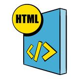 HTML file icon cartoon. HTML file icon in cartoon style isolated vector illustration Royalty Free Stock Photo