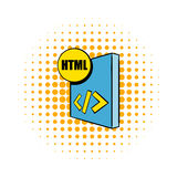HTML file icon in comics style. On a white background Royalty Free Stock Image