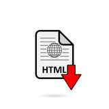 HTML file with red arrow download button Stock Photo