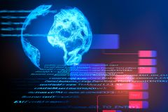 HTML globe background. Creative background with HTML code and polygonal globe. International business, computing and technology concept. Double exposure Stock Image