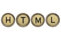 HTML (hyper text markup language) acronym in typewriter keys Stock Photos