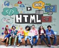 Html-internetdator som kodifierar Websitenätverksbegrepp Royaltyfri Foto