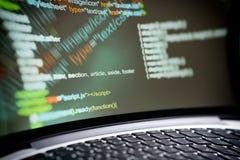Html-kod på en bärbar datorskärm Royaltyfri Fotografi