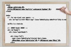 Html-kod på en svart tavla Royaltyfri Bild