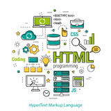HTML line art concept. Vector Line Art Concept of html. Round banner for coding and web programming in blue. green and yellow colors Royalty Free Stock Photography
