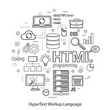 HTML line art concept. Vector Line Art Concept of html. Round monochrome banner for coding and web programming Stock Photography