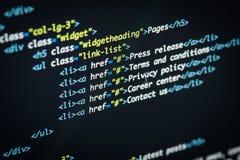 Html- och CSS-kod Arkivfoto