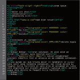 HTML Simple Code Vector. Colorful Abstract Program Tags In Developer View. Screen Of Colored Lighted Syntax Of Source Code Script.