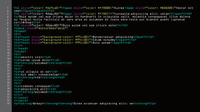 HTML Simple Code Vector. Colorful Abstract Program Tags In Developer View. Screen Of Colored Lighted Syntax Of Source Code Script. HTML Simple Code Vector Stock Photo