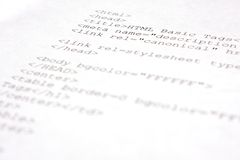 HTML Source code - HTML 5. Printed HTML Source code on a white paper Royalty Free Stock Photo
