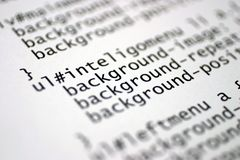 Html tags. Printed internet html code Stock Photography