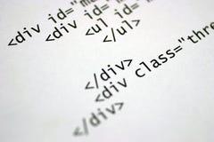 Html tags. Printed internet html code Royalty Free Stock Image