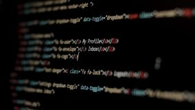 HTML Web Page Code Scrolling Programming code abstract technology background for software developer and Computer script stock footage