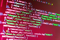 HTML website structure. Programming code typing. HTML website structure royalty free stock photos