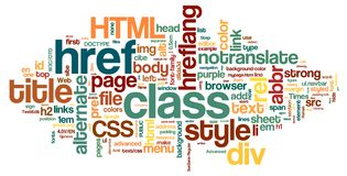HTML Word Cloud. Collection of information technology, world wide web, Internet and coding related words for design projects