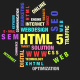 HTML 5. The word cloud of the HTML 5,business and internet concept Stock Photos