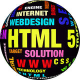 HTML 5 word cloud. Business and internet concept Stock Photos