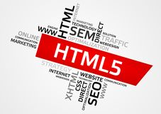 HTML5 word cloud, tag cloud, vector graphics Royalty Free Stock Images