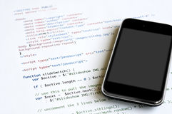 HTML y smartphone foto de archivo libre de regalías