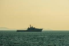 HTMS Angthong LPD 791 landing platform dock of Royal Thai navy anchors at Andaman Sea royalty free stock image
