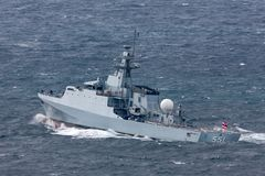 HTMS Krabi OPV-551 Offshore Patrol Vessel OPV Of The Royal Thai Navy Departing Sydney Harbor Royalty Free Stock Images