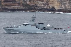 HTMS Krabi OPV-551 Offshore Patrol Vessel OPV Of The Royal Thai Navy Departing Sydney Harbor Royalty Free Stock Photos